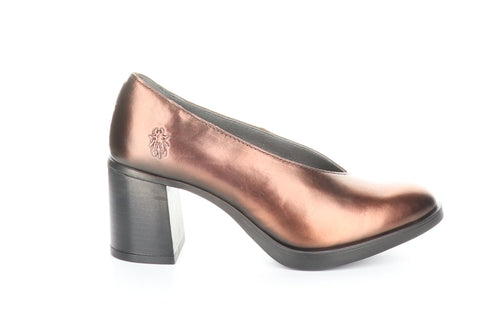 Fly London Saco in copper shoe available at Shoe Muse