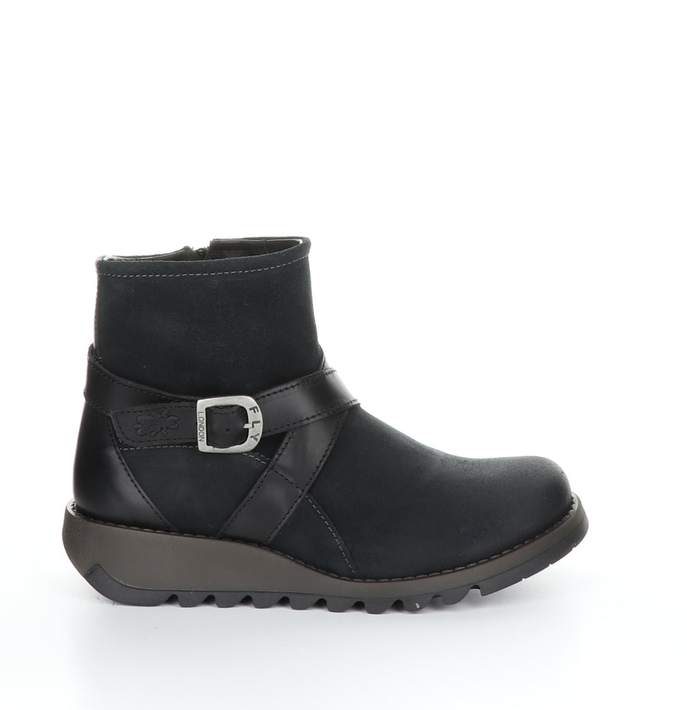 Fly London Sake in dark petrol boot available at Shoe Muse