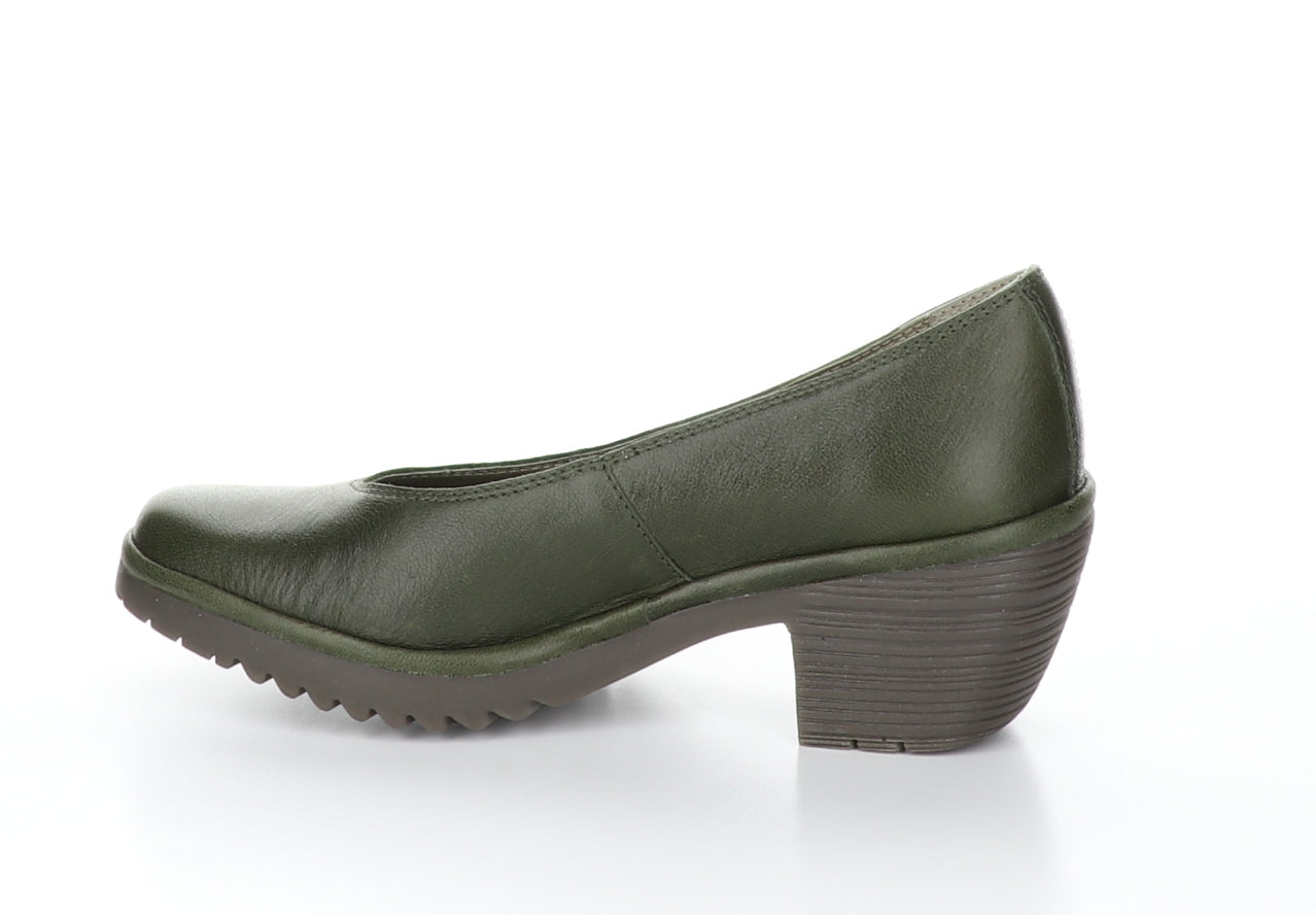 Fly London Walo in green pump shoe available at Shoe Muse