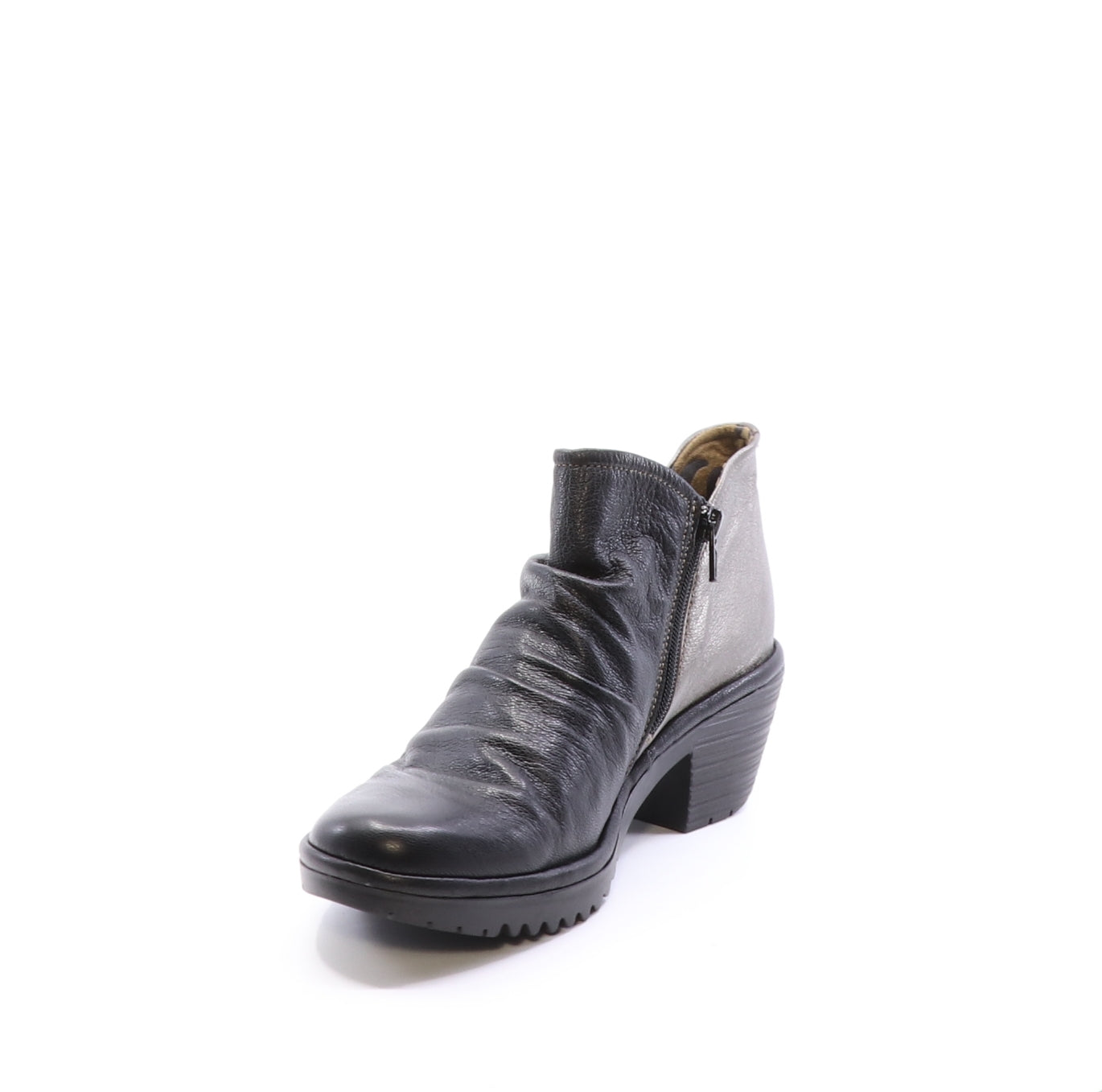 Fly London Wezo in black bronze boot available at Shoe Muse