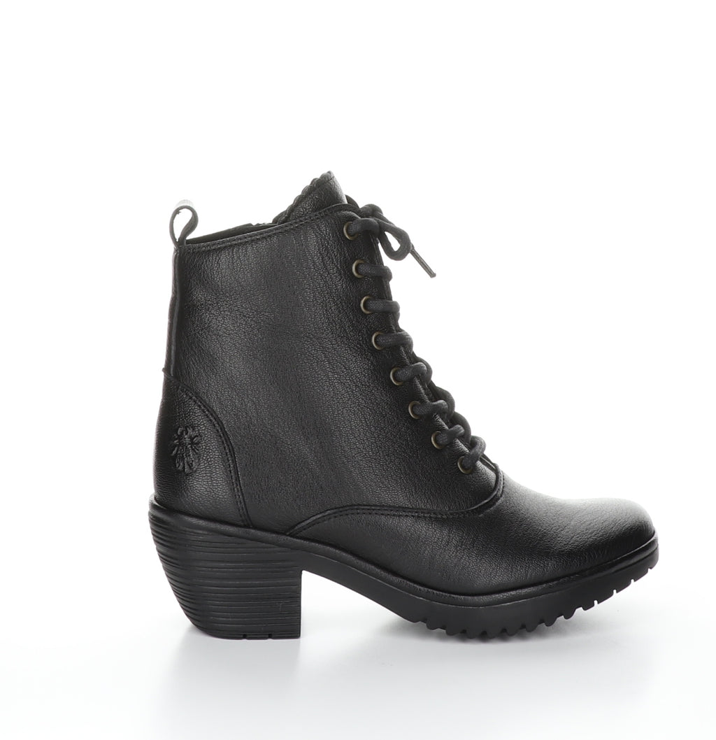 Fly London Wune in black boot available at Shoe Muse
