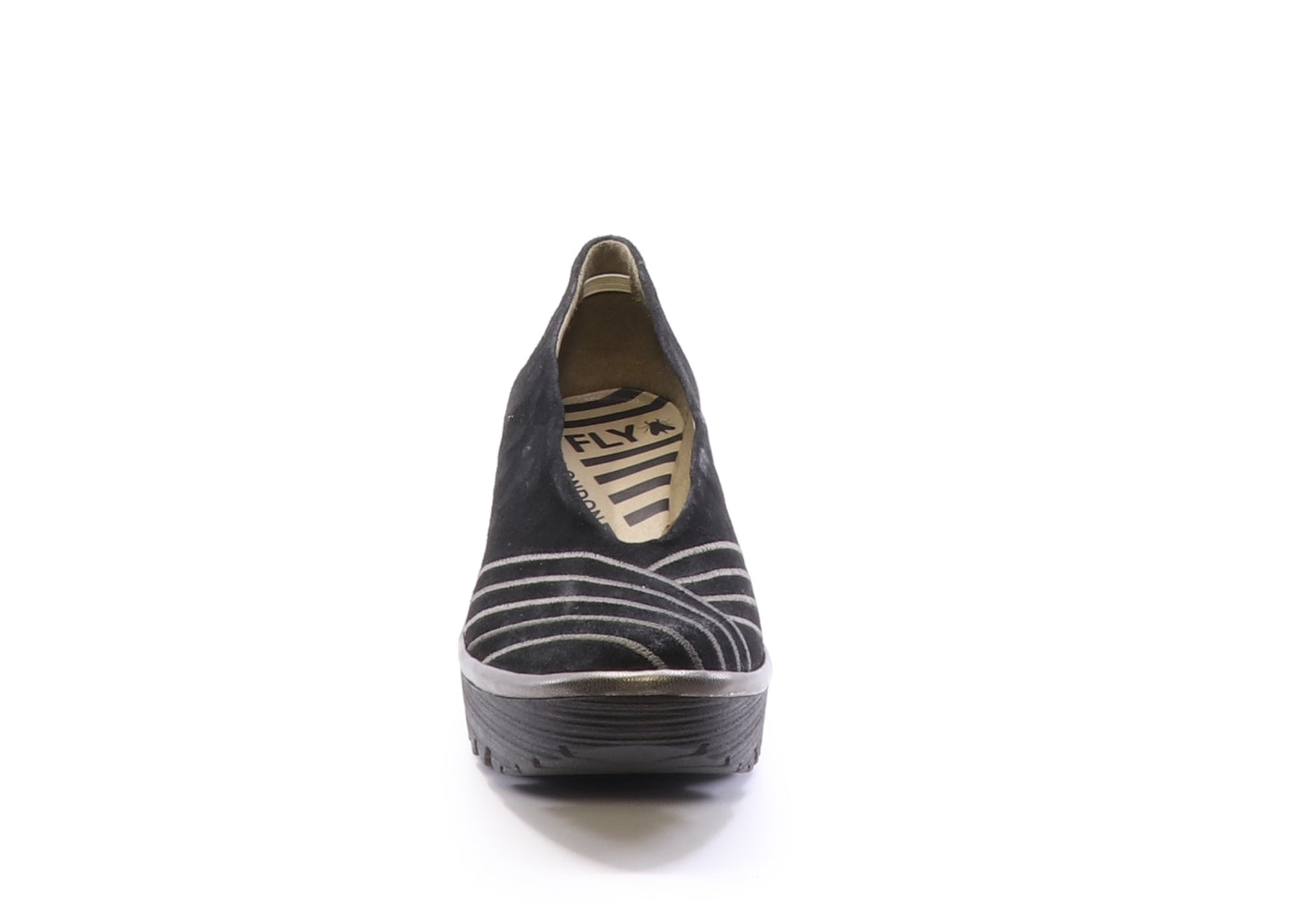 Fly London Yaku in black bronze shoe available at Shoe Muse