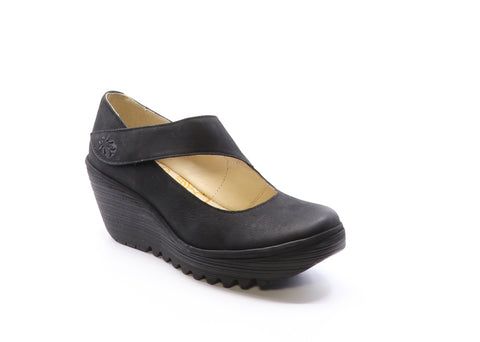 Fly London Yasi black shoe available at Shoe Muse