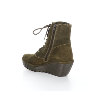 Fly London Ygot in sludge boot available at Shoe Muse