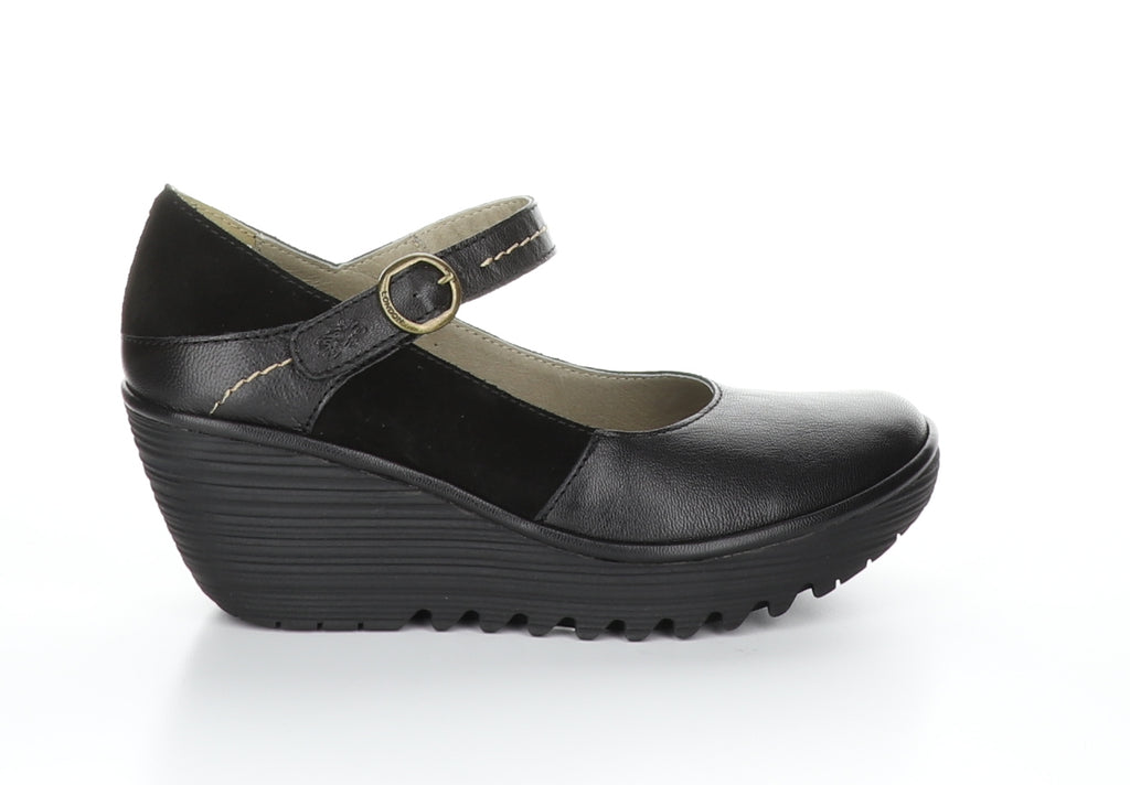 Fly London Yuko black shoe available at Shoe Muse