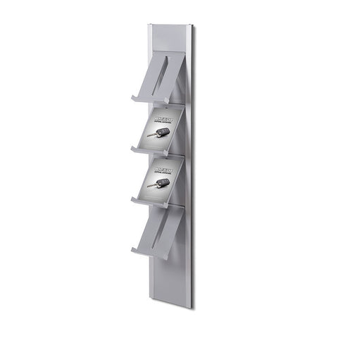 Expositor modular de pared para folletos, color plata