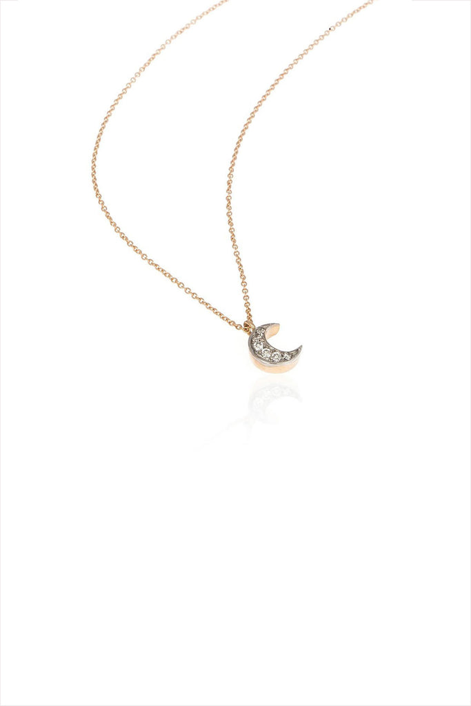 Moon Necklace With White Diamond