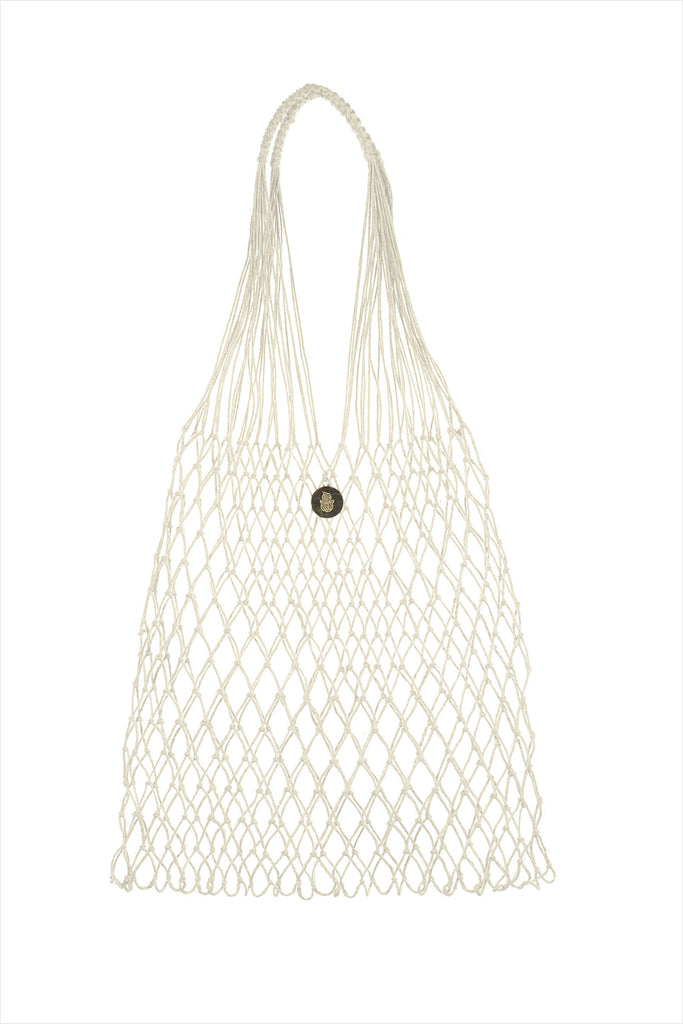 Linen Knotted Bag White