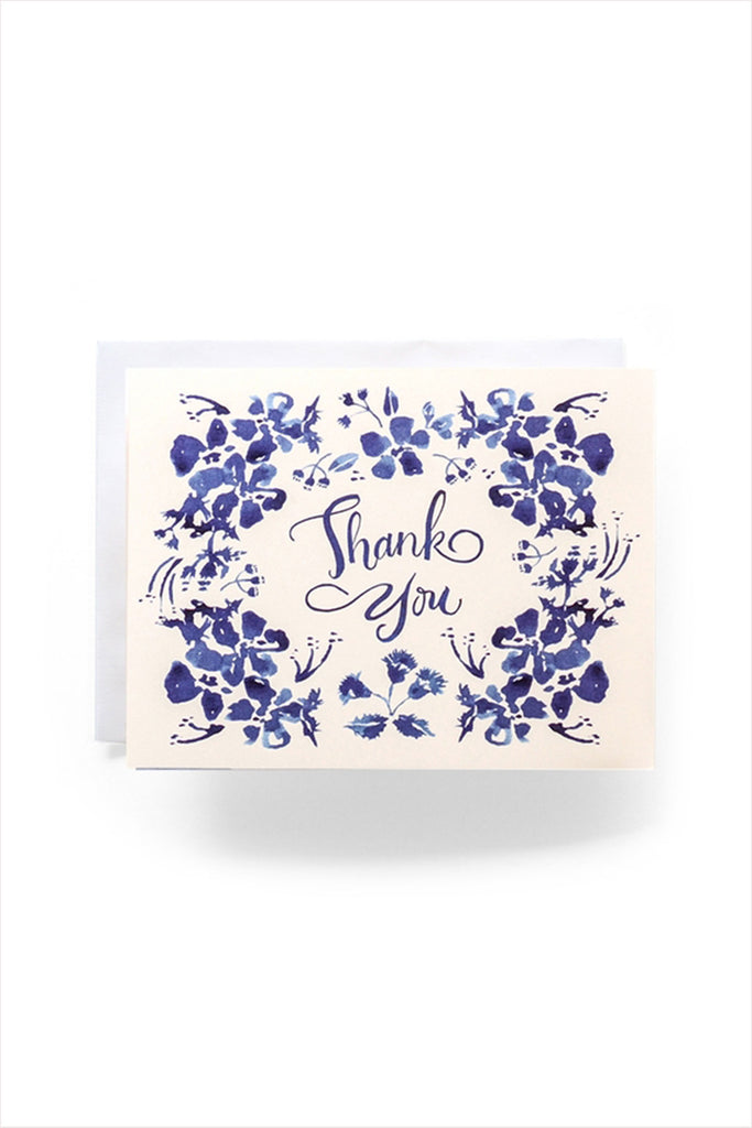 Blue Windflower Thank You Card