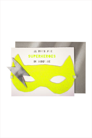Boy Superhero Mask And Card