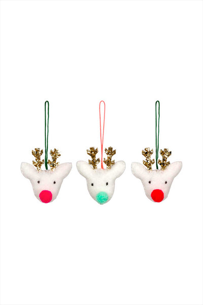 Pom Pom Reindeer Felt Tree Decoration Set
