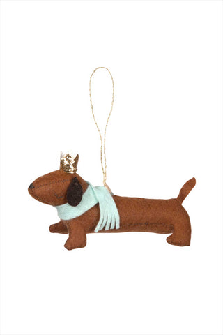 Felt Sausage Dog Ornement