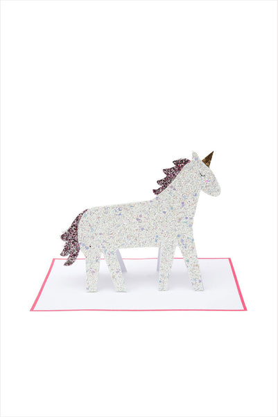 Unicorn Glitter Stand Up Card