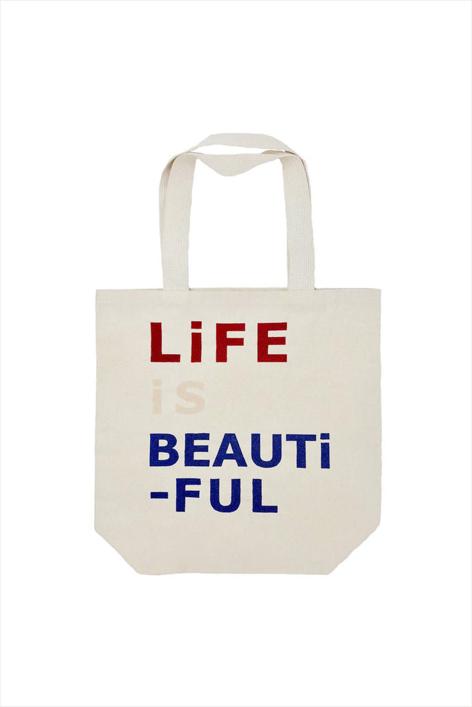 Life Is Beautiful Tri Color Tote