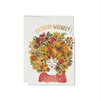 Floral Tresses Die Cut Foil Birthday Card