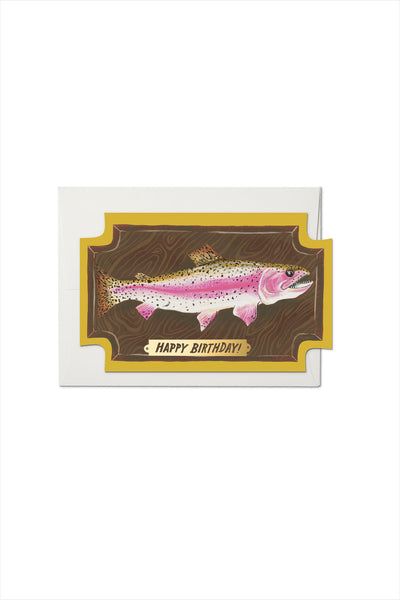 Mounted Fish Die Cut Foil Birthday Card