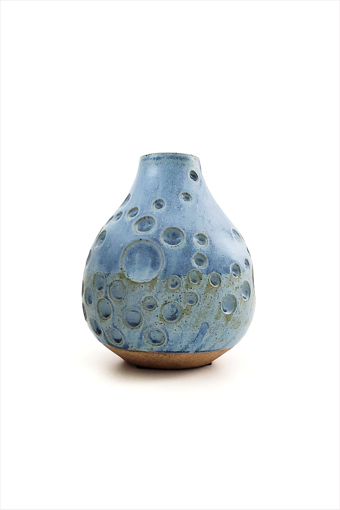Tidepool Carved Bud Vase Blue
