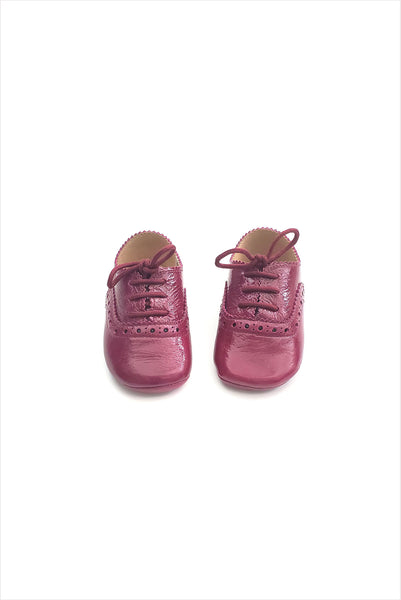 Scallop Baby Shoe 1920 Burgundy