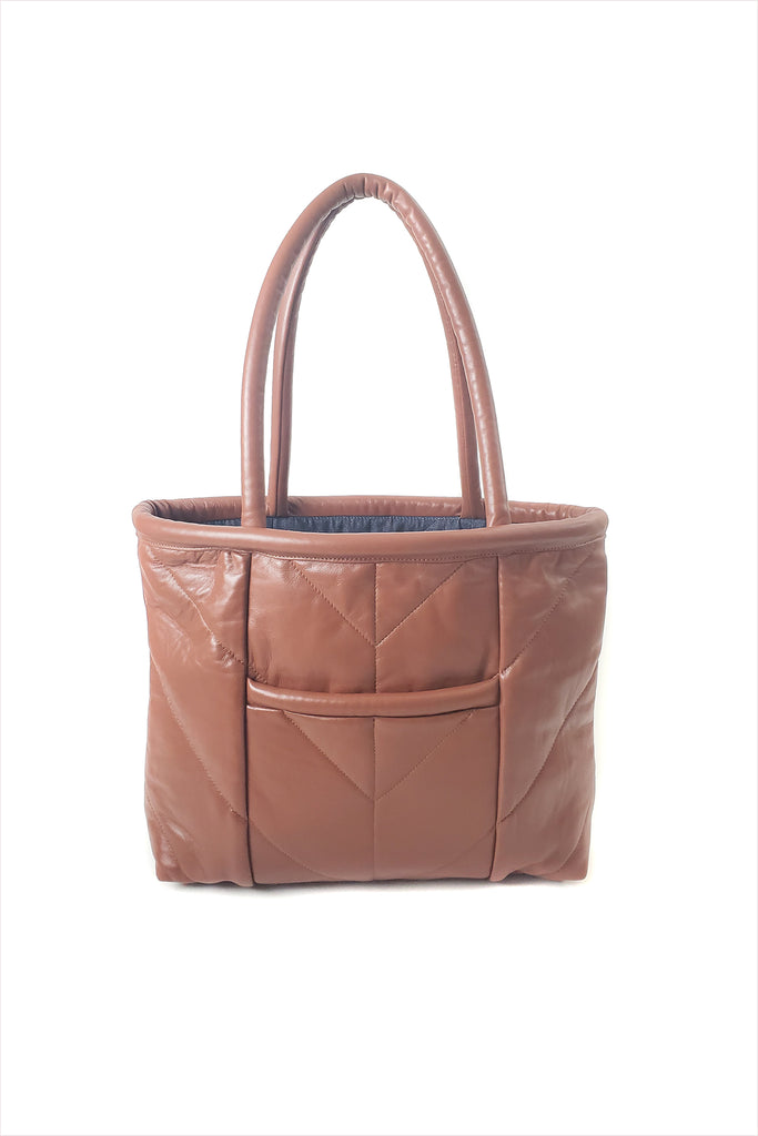 Electric Feathers Enano Calfskin Tote Cognac