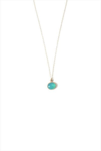 Pariba Chalcedony Pendant 14K Gold Necklace