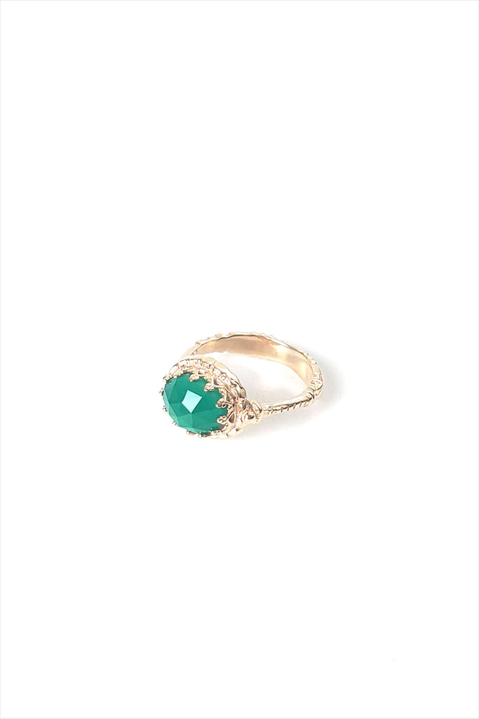 Green Calcite Ring Lacey 14k Gold