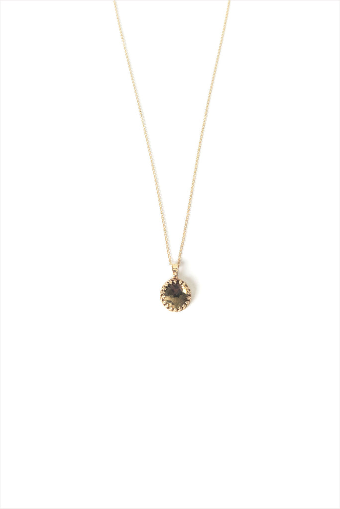 Whiskey Quartz Pendant 14K Gold Necklace