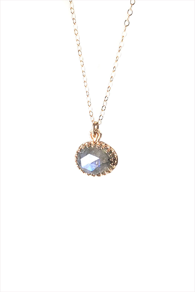 Labradorite Pendant 14K Gold Necklace