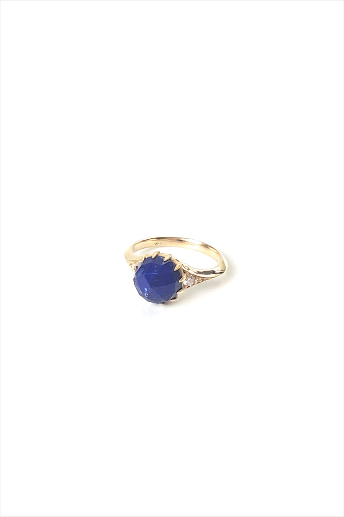 Lapis Ring with Pave Diamonds Lacey 14k Gold