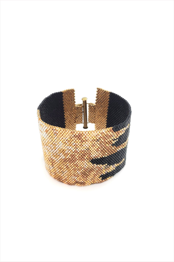 Gold Crown Beaded Cuff