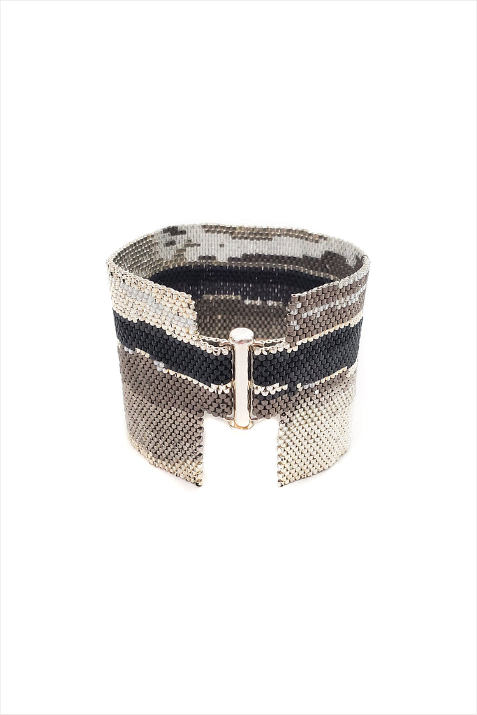 Silver Horizon Beaded Cuff