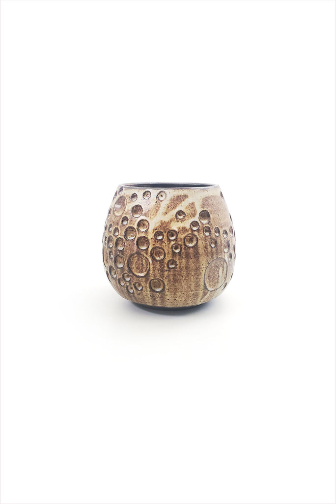 Tidepool Carved Planter Small Brown Lavender