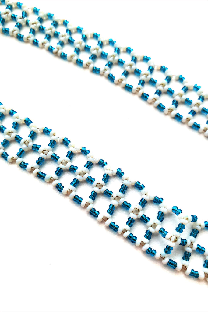 Curtis Steiner 19c Blue Glass Beads And Stirling Clasp Necklace