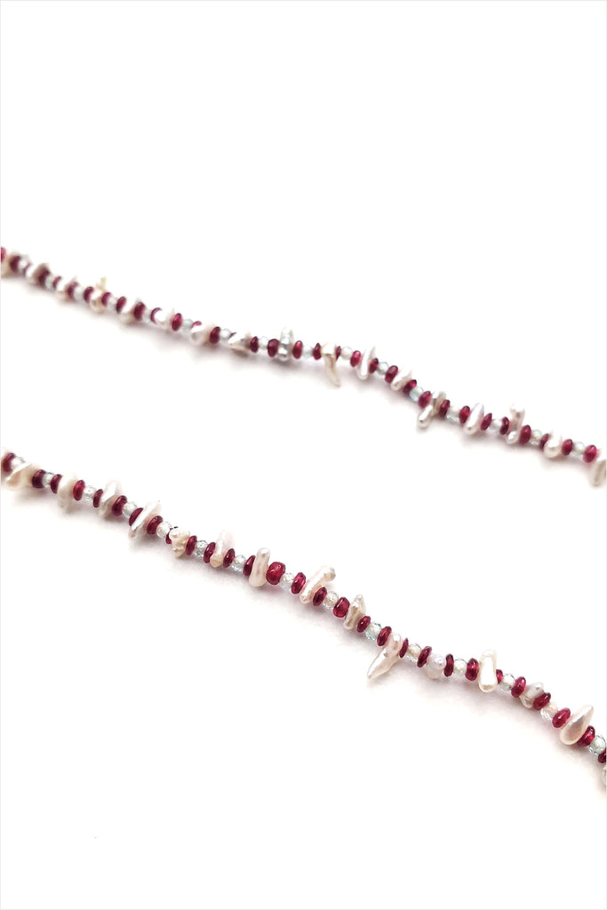 Curtis Steiner Ruby, Natural Zicron And Keshi Pearl Necklace