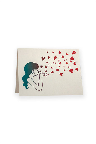 Blowing Kisses Thank You Card