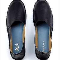 Act. Arven Mens leather Espadrille Black