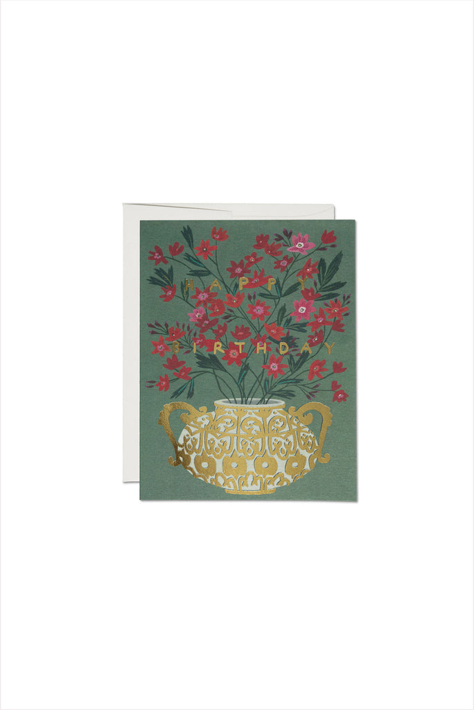 Golden Vase Foil Birthday Card