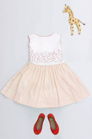 Embroidered Front Eloise Dress Peach