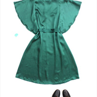 Women's Angel Dress Green Silk