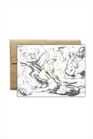 Foil Carrara White Thank You Card