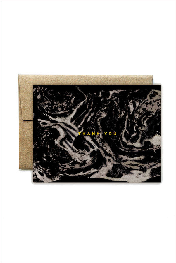 Foil Carrara Black Thank You Card