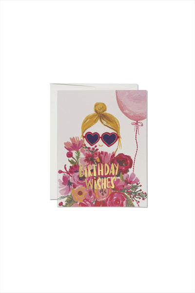 Heart Shaped Glasses Foil Birthday Card