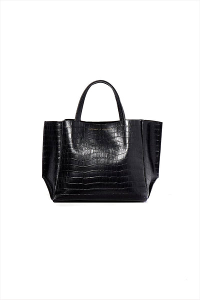 Half Tote Black Crocodile