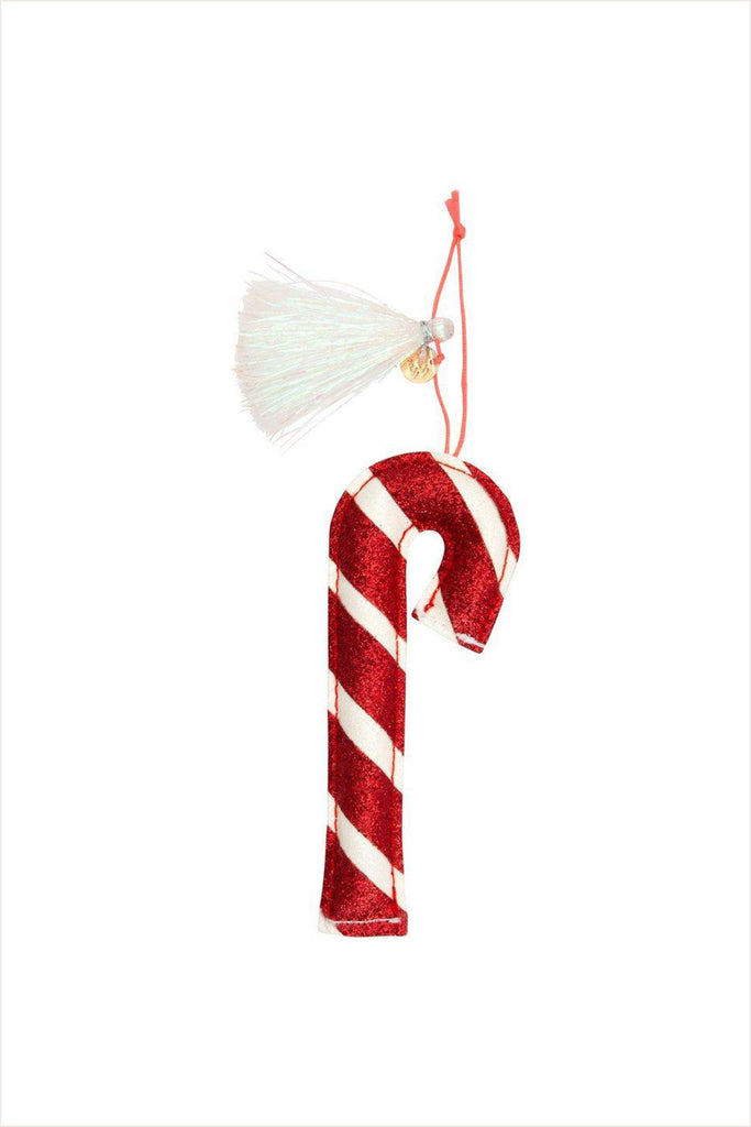 Candy Cane Glitter Fabric Ornament Tree Decoration