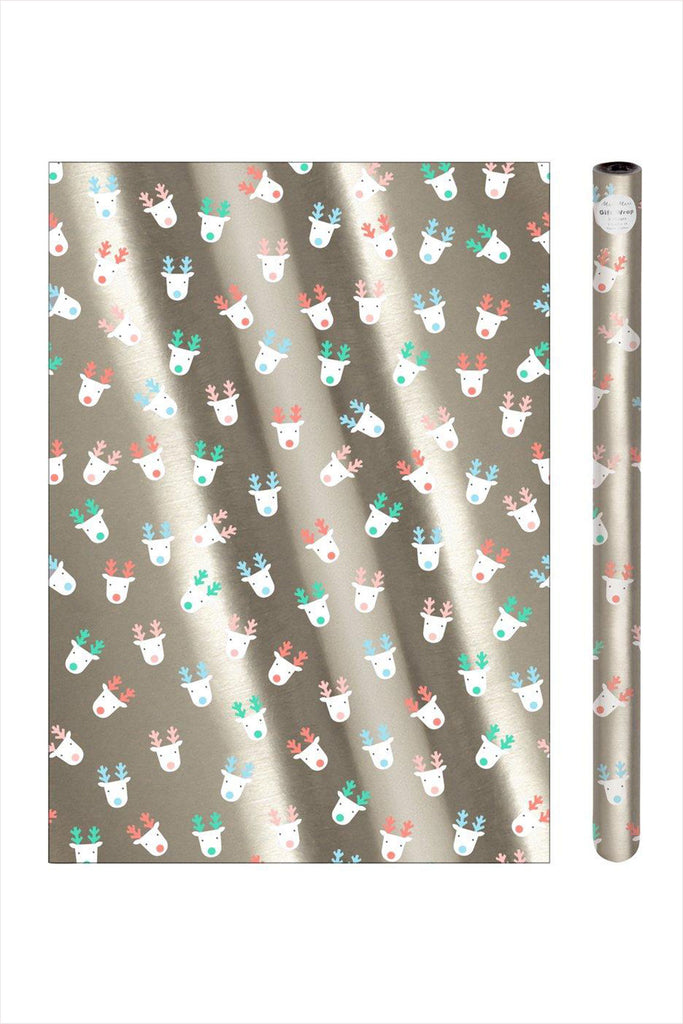 Silver Reindeer Wrapping Paper Roll