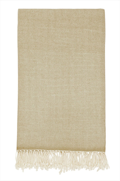 Herringbone Cashmere Throw Camel