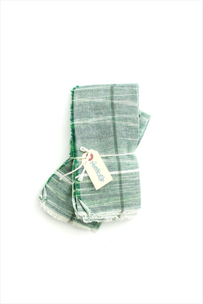 Green With Contrast Stripe Napkin Set