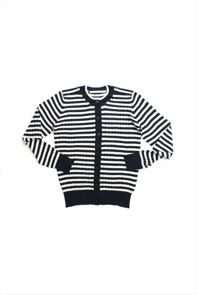F&H Women's Cashmere Rib Cardigan Stripes