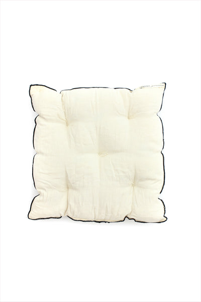 Square Cushion Off White With Black Piping