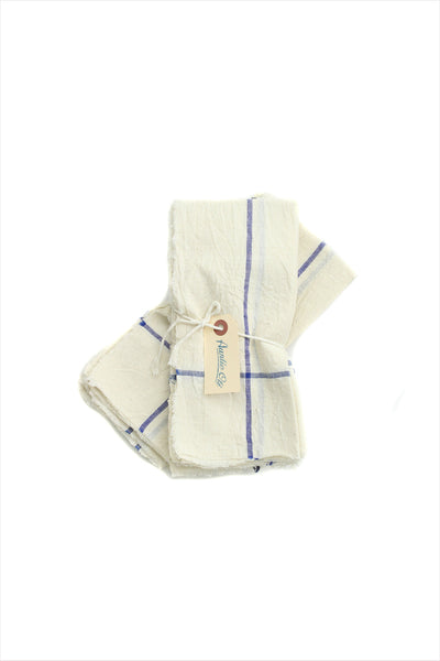 Natural With Blue Stripe Napkin Set