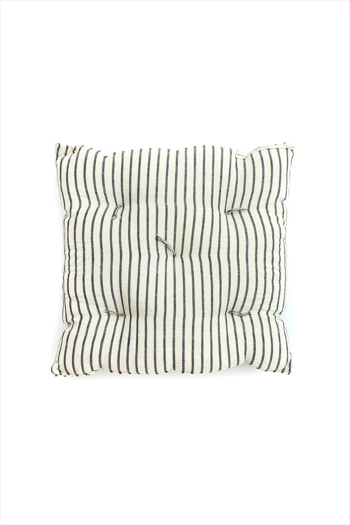 Square Cushion Black/Off White Stripe